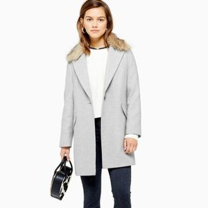 Topshop Monica Faux Fur Removable Collar Coat 12